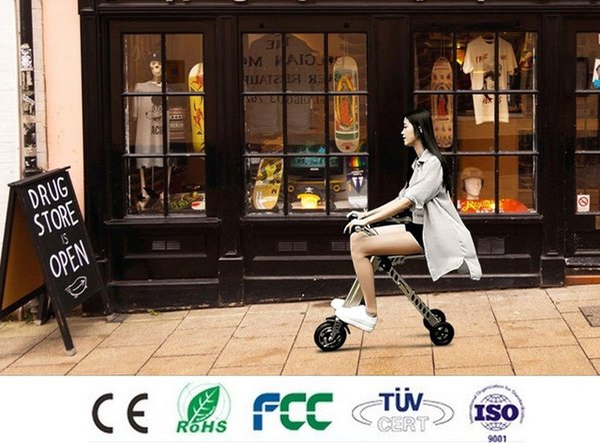 3 Ruedas Mini Portátil Plegable Bicicleta Eléctrica Bicicleta Plegable Scooter E-Bike Motor Sin Escobillas Batería de Litio Ligera Sólo 11kg CE FCC