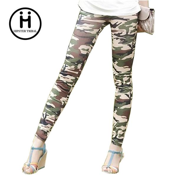 Großhandels- Neue 2016 Frauen Leggings beiläufige Eignung Tarnung hohe Taille elastische Mode Fitness Workout Camo Farbe Leggings Hosen