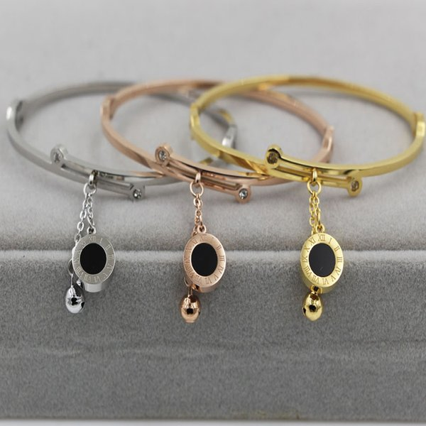 Rose Gold Color Circles Bangles for Woman black shell Round Bracelet and Bangles Female Fashion Jewelry