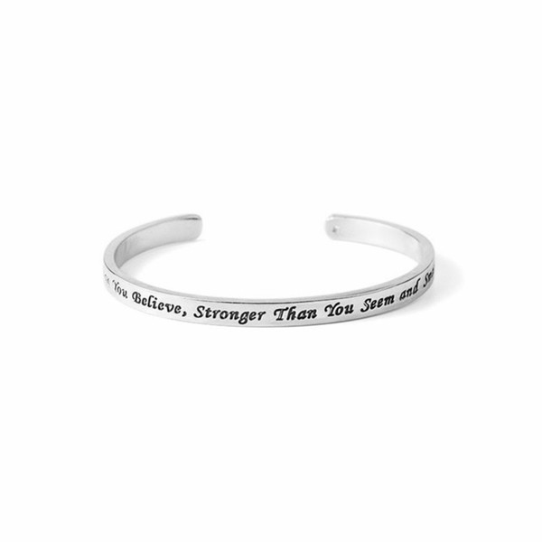 Silver Plated Alloy Bangles You Are Braver Than You Believe Letter Charm Bracelet Women Cuff Bangle Bracelet