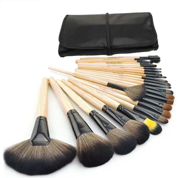 24 Pcs pinnk red wood Professional Persian Hair Kit makeup brushes Set With Soft Bag Case Beauty Eye Shadow