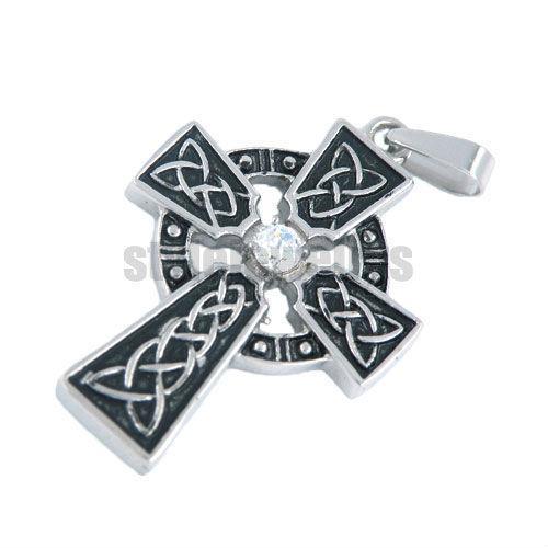 Free shipping! Claddagh Style Stone Iron Cross Pendant Stainless Steel jewelry Fashion Celtic Knot Motor Biker Pendant SWP0022B