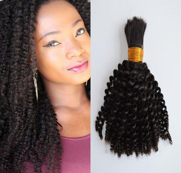 Indian Human Hair Bulk Kinky Curly No Attachment 10-26 inch Natural Color Bulk Hair for Braiding FDSHINE