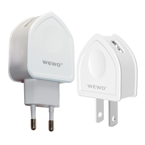 WEWO Dual USB Power Adapter with Cable Smart Mobile Phone Charger Portable USB Charger for Xiaomi iPhone Samsung US plug with retail package