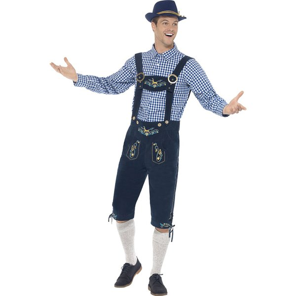 Men Traditional Oktoberfest Costumes German Bavarian Beer Male Cosplay Halloween Men Party Clothes Chequered Top and Blue Lederhosen W4153