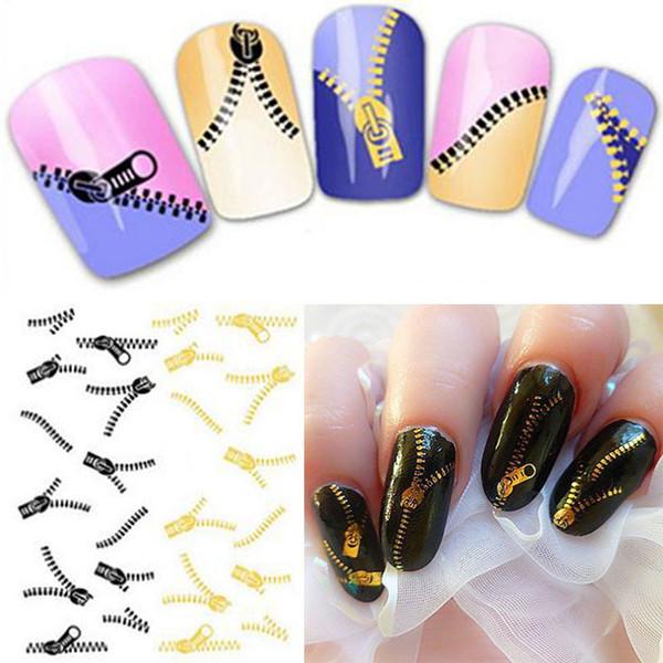 New Nail Art Aufkleber Pfau Feder Zip Stil Transfers Aufkleber Kostenloser Versand