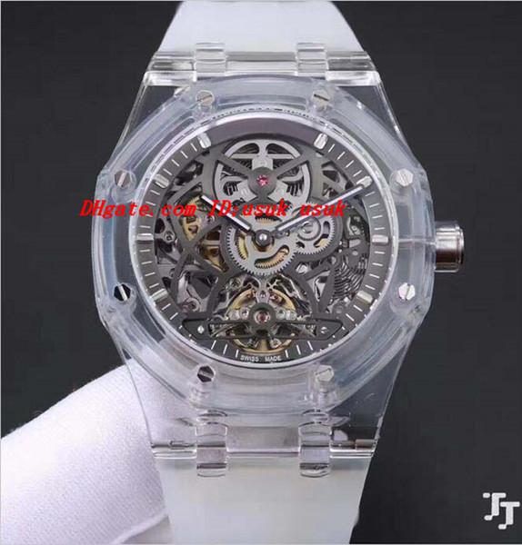 Luxury Watches Mens Transparent Rubber Bracelet Steel Skeleton 42mm Automatic Fashion Brand Men's Watch Wristwatch