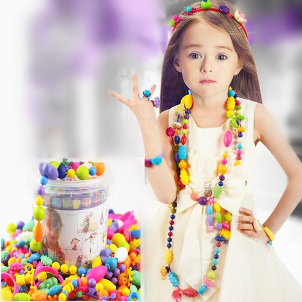 165Pcs Snap-Lock Threading Beads Toys Handmade DIY Crafts Arts Jewelry Making Kits Gift for Kids Children