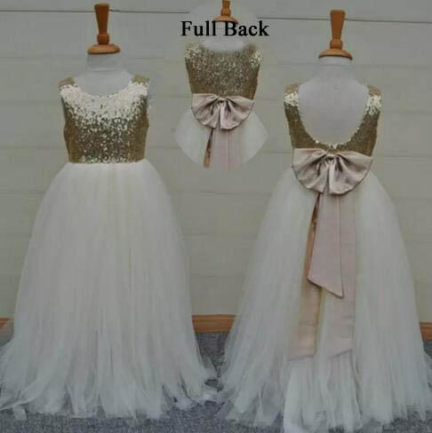 best selling Real Sample High Quality Flower Girls Dresses Sparkly Gold Sequins Kids Long Formal Wedding Party Gowns Sleeveless Open Back Bow Sash
