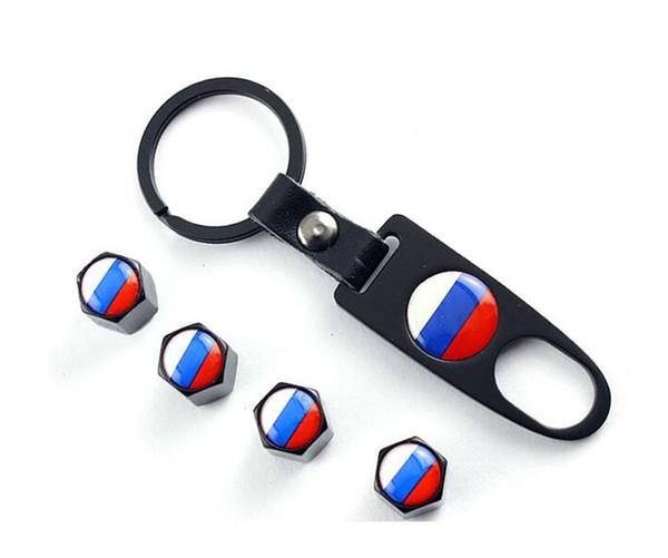 Car accessories Car Wheel Tire Valve Caps & Logo Keychain Dust Stems Air Caps Cover Russia flag for Volkswagen polo b5 b6 golf 4 5 6 jetta