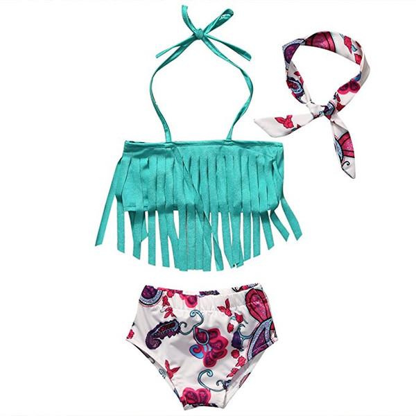 Kleinkinder Mädchen süße Quasten Bikini 3er Set Stirnband + Quasten Neckholder Top + Bogen Blume Shorts Baby Strand Kleidung Outfits für 0-2 t