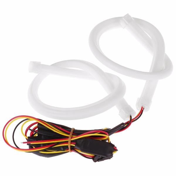 2 stücke 45 cm Tagfahrlicht Universial Flexible Soft Tube Guide Auto LED Streifen Weiß DRL und Gelb Blinker Licht