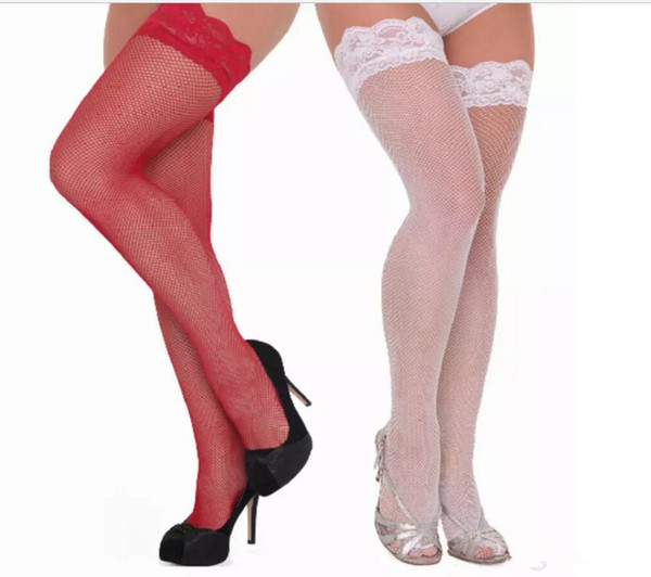 best selling New Women New Thigh-High Stocking Sexy Women Transparent Mesh Lace Silk Stocking Solid White Red Purple Black Pink Stay Up Club