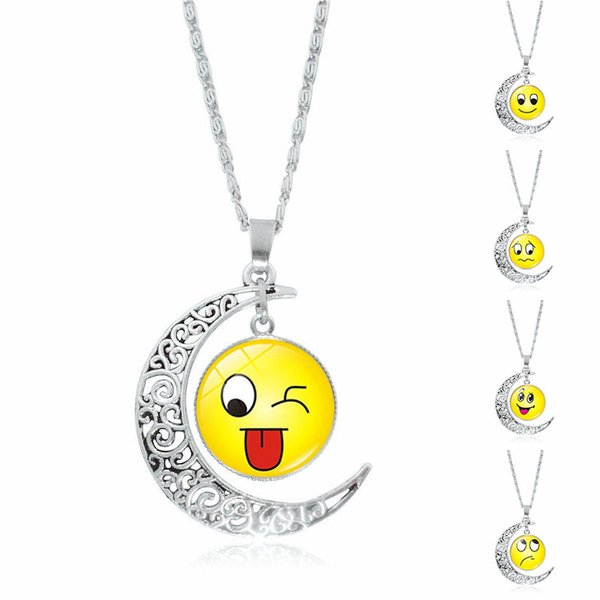 XS Silver Plated Moon Alloy 9 Colors Emoji Wacky Expressions Time Glass Necklace Pendant Wholesale