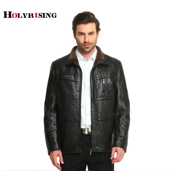 Wholesale- men leather jacket jaqueta de couro masculino fur coat middle-aged leather PU jacket coat stand collar size male 4XL 2 color