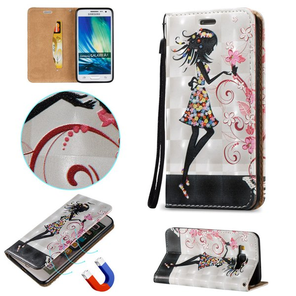 Waterproof Magnetic Close Skin Case For Samsung Galaxy S3/S4/S5/S6/S6 Edge/A3/A5 3D Shell PU Leather Stand Wallet With Card Slots Rope Cover