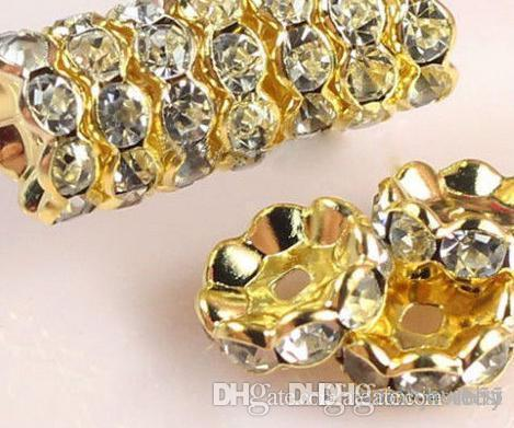 8mm 10mm 500 pcs/lot white Clear Crystal Rhinestone Rondelle wave Spacer Beads, Gold Plated Jewelry Rondelle Spacer Loose Bead k2242 w62 a62