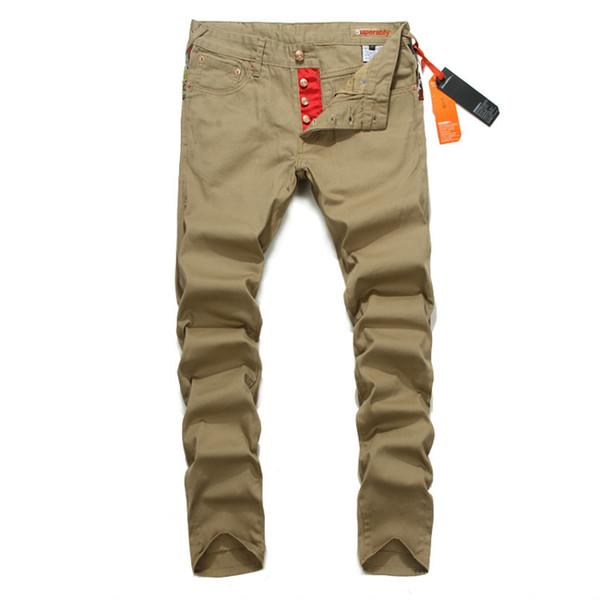 2017 Wholesale Button Pants Men Slim Fit Denim Khaki Trousers Mix ...