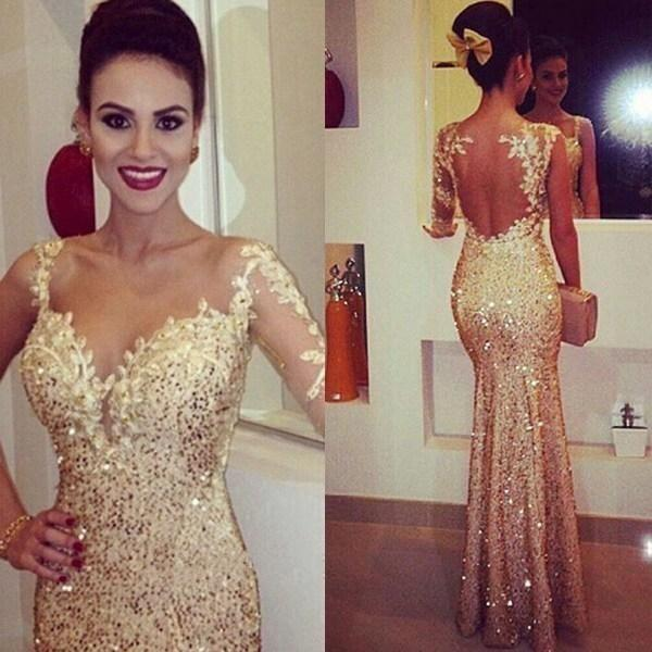Sparking Gold Fitted Evening Dresses 2017 Lace Appliques Sheer Long Sleeve Open Back Sequin Prom Dress Party Ball Glitzy Pageant Gowns