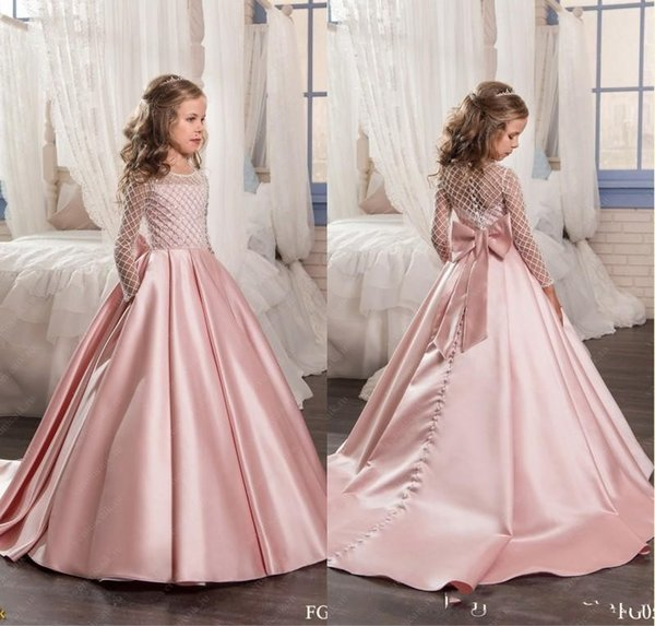 2017 Blush Pink Flower Girl Dresses Satin kids evening gowns with long sleeves Beads Ball gown Girls Pageant Dresses Custom Made