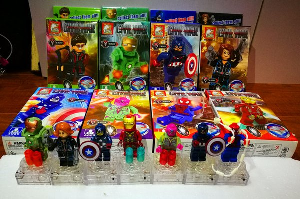 8pc/lot New style Super hero The Avengers alliance building blocks sets action minifigures toys DIY educational toy A4