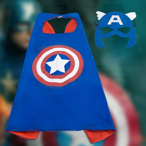 Marvel Super Heros Cloak Halloween Cosplay Avengers Captain america Christmas Party New Year Superman Spiderman Batman Hulk with Face Mask