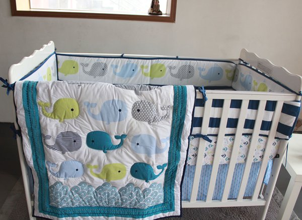 8 Pieces Baby Bedding Set Embroidery 3D Ocean Whale Baby Crib Bedding Set Cotton Quilt Bedskirt Bumper Blanket Crib Bedding Set