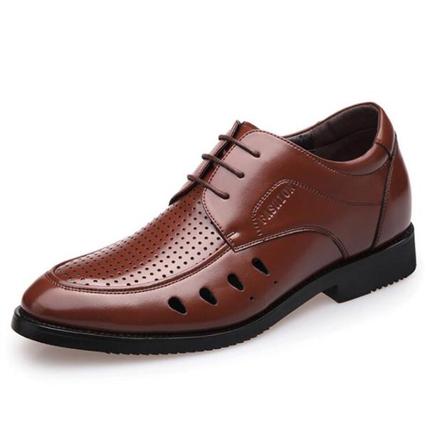 2017 Top Quality Men Shoes Fashion Genuine Leather Men Business Flats Casual Lace-Up Oxfords Shoes Man Hole Shoes