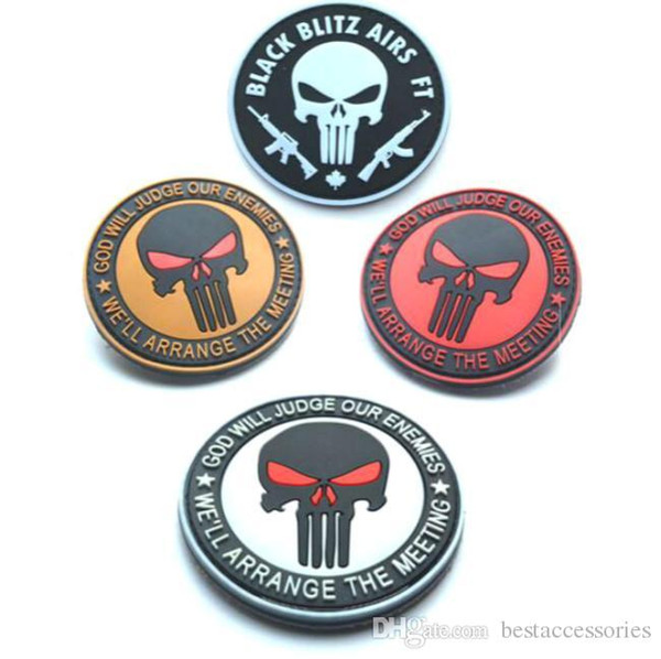 3.15 inch high quality PVC Patches with magic tape Punisher Skull patchGOD WILL JUDGE OUR ENEMIES-Red Eyes sew on patch GPS-020