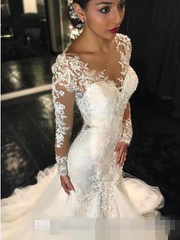 2017 Gorgeous Lace Mermaid Wedding Dresses Dubai African Arabic Style Petite Long Sleeves Natural Slin Fishtail Plus Size Bridal Gowns