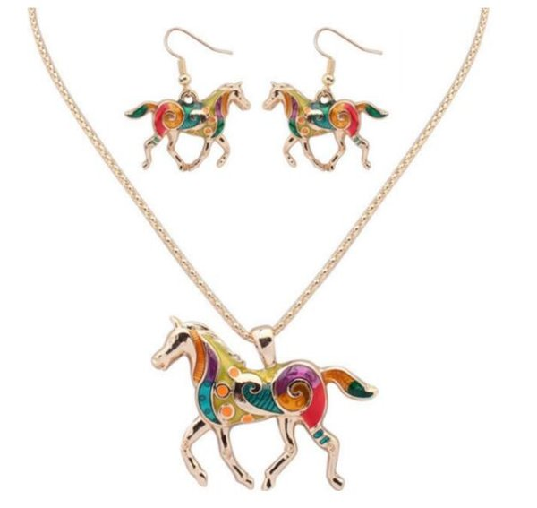 Hot Sell Fashion Drops Rainbow Horse Bride Jewelry Necklace Set women Choker Necklaces Infinity Jewelry Fast Free Shipping