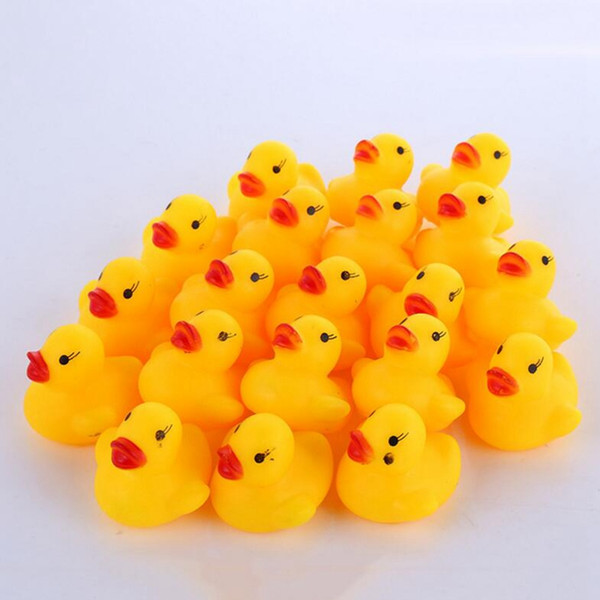 top popular Baby Bath Duck Toy Mini Yellow Rubber Sounds Ducks Kids Bath Small Duck Toy Children Swiming Learing Toys DHT67 2021