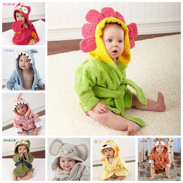 Kids Animal Bathrobe Toddler Girl Boy Baby Cartoon Pattern Towel Hooded Bath Towel Terry Wrap Bath Robes Swaddle Blanket Washcloths F202