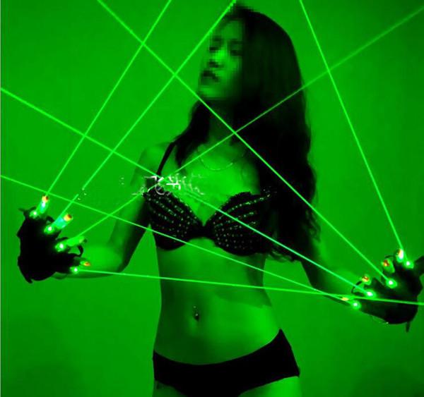 Gants laser chiristmas laser RGB 532nm Gants laser verts LED lumière de paume danse club de lumière de spectacle / fête / bars