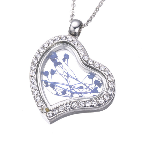 3 Colors heart Floating Locket Pendant Necklace women Magnetic Living Memory Glass Floating Charm Locket Chains DIY necklaces 161934