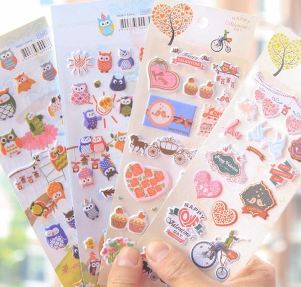 Wholesale- 4Sheets/lot Korea Stationery Owl 3D Album Cell Phone Decorative Stickers Happy Valentine's Day Sticker