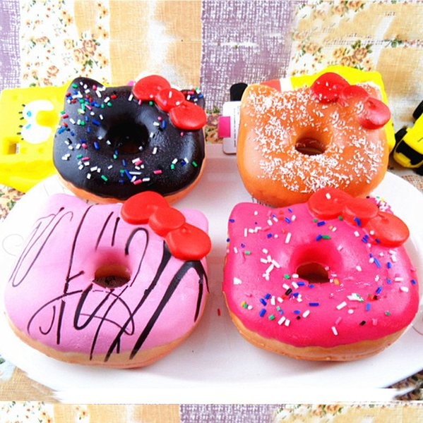 20Pcs/lot Jumbo Hello Kitty Donut Squishy slow rising Cell Phone Charm Emotional venting tool packages food toys kitchen