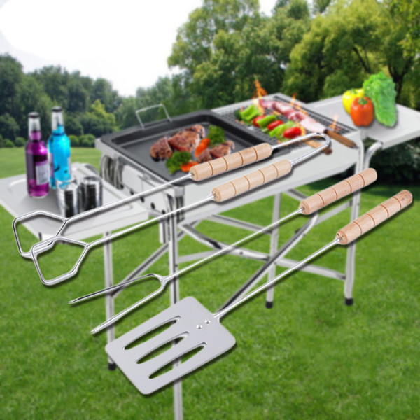 3pcs/set Stainless Steel Barbecue Fork Tongs Skewer Sets BBQ Roasting Grill Tools Grilling Tool Spatula Roasting Shovel Tongs Set