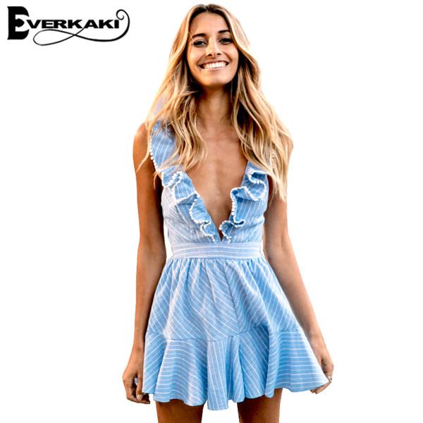 Atacado-Everkaki 2017 verão mulheres sensuais Ruffles vestidos Boho listrado vestido decote em V sem mangas cintura alta lace Up Backless praia Vestidos