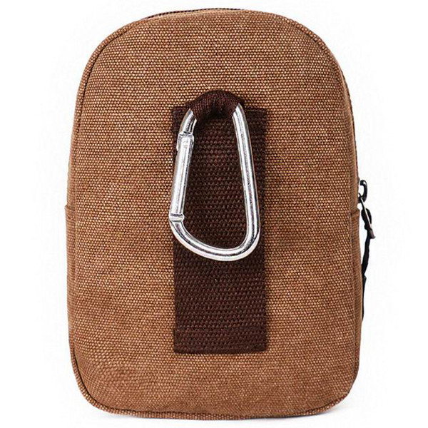 Men Utility Fanny Packs Canvas Metal Carabiner Clock Clip Waist Pack Small Bum Bags Sports Outdoor Phone Bag Purse Pouch With Belt Loop