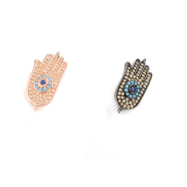 2 Colors ECO-Friendly Hamsa Hand Evil Eye Shape Micro Pave Charm, Connector for DIY jewelry makining, ICSP059, Size 24.4*11.2mm