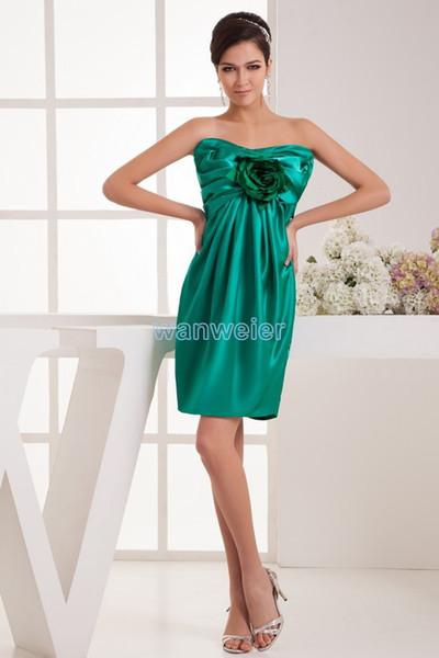 free shipping 2018 new design hot seller custom size handmade flower brides maid dress sexy green short mini Cocktail Dresses