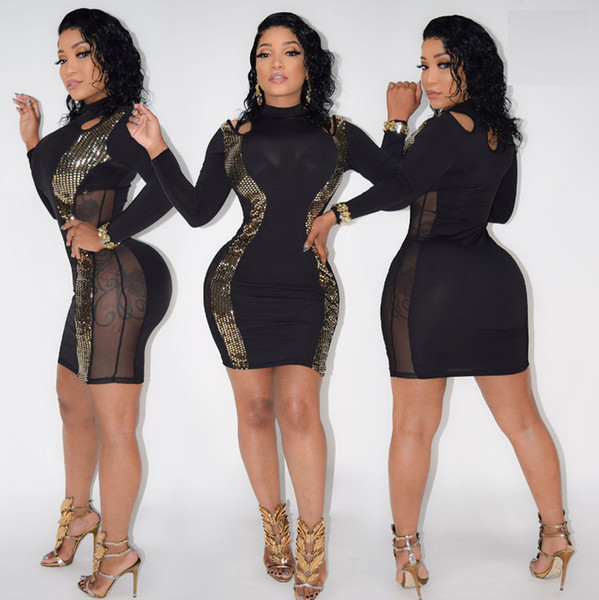 0ab9d4628a Womens Sexy Bandage Sequined Dress 2017 New Summer Black mini Dress Long  Sleeve Mesh Patchwork Pencil