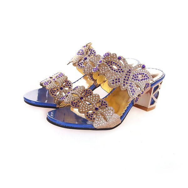 Wholesale-Women peep toe sandals 2016Summer Fashion open toe Woman Sandals glitter Square Heels Flip Flops Fish Mouth Shoes 1518-18