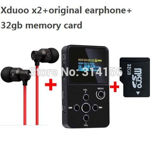 Wholesale- with real 32GB TF card+strong bass earphone, XDUOO X2 HIFI MP3 digital audio Music Player with OLED Screen MP3 WMA APE FLAC WAV
