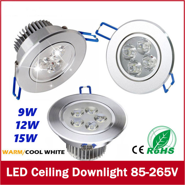 FREE SHIPPING 9W 12W 15W LED Ceiling Downlight Recessed LED Wall lamp Spot light With LED Driver For Home Lighting AC85V-265V