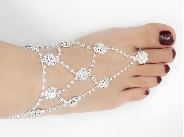 Di alta qualità da sposa strass a piedi nudi sandali da spiaggia gioielli da sposa punta anello cavigliere piede catene braccialetti alla caviglia gioielli piede
