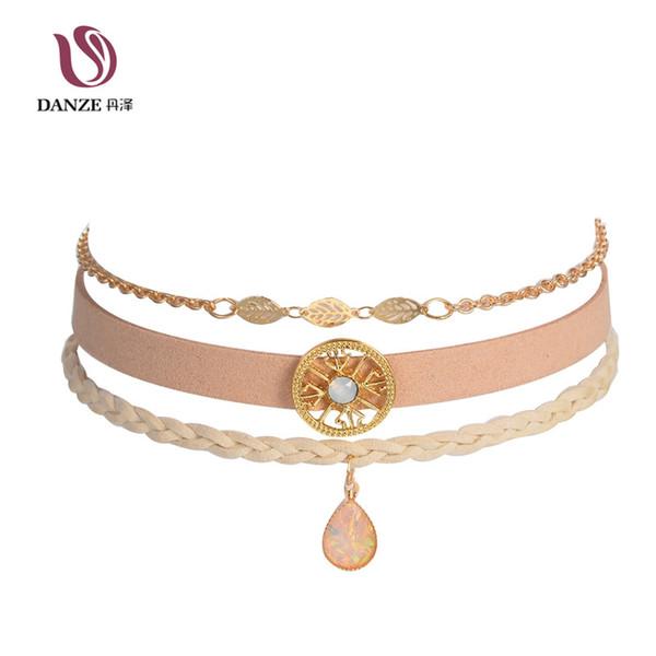 Wholesale- DANZE 4 Types Bohemian Choker Necklace Set for Women Female Opal Pendant Chokers Fashion hollow out lace Collier Femme Jewelry