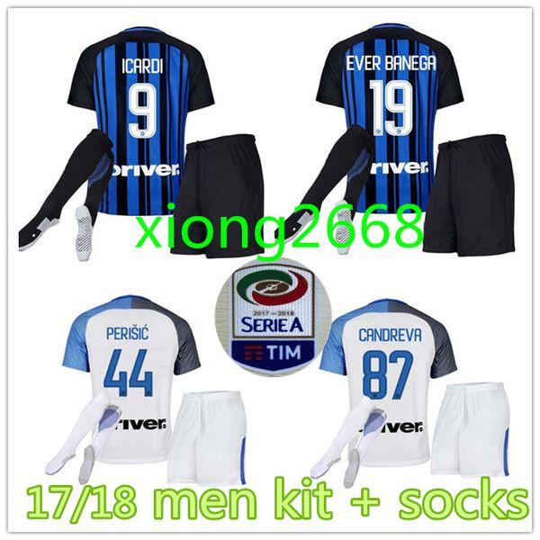 2017 18 inter home kits Soccer jersey CANDREVA ICARDI EDER KONDOGBIA  PERISIC 2018 Milan full Set Socks 17 18 Maillot de foot football shirts d59ff805b2ca