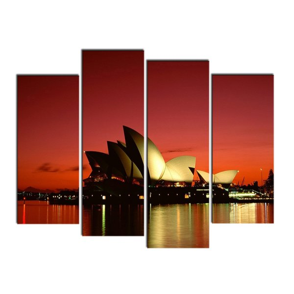 4 PCS Wall Decor Painting River & Opera House Australia Landscape Art Print Home Decorative Digital Picture Canvas Printing